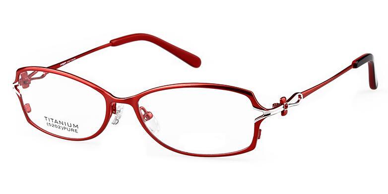 Fashion Titanium Eyeglass Frames Light Red Color Womens