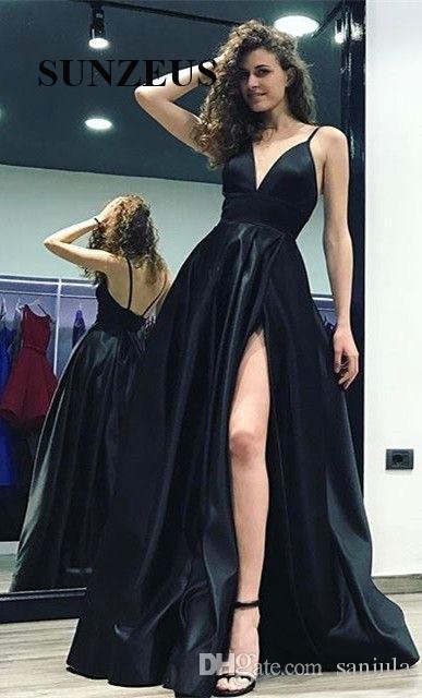 Acheter Jambe Haute Fendue Fendue Noir Robes De Bal Long Profond V