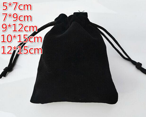 FreeShip Various Sizes 5*7cm 7*9cm 9*12cm 10*15cm 12*15cm Black Velvet Bag Jewelry Bags Wedding Party Candy Beads Christmas Gift Bags