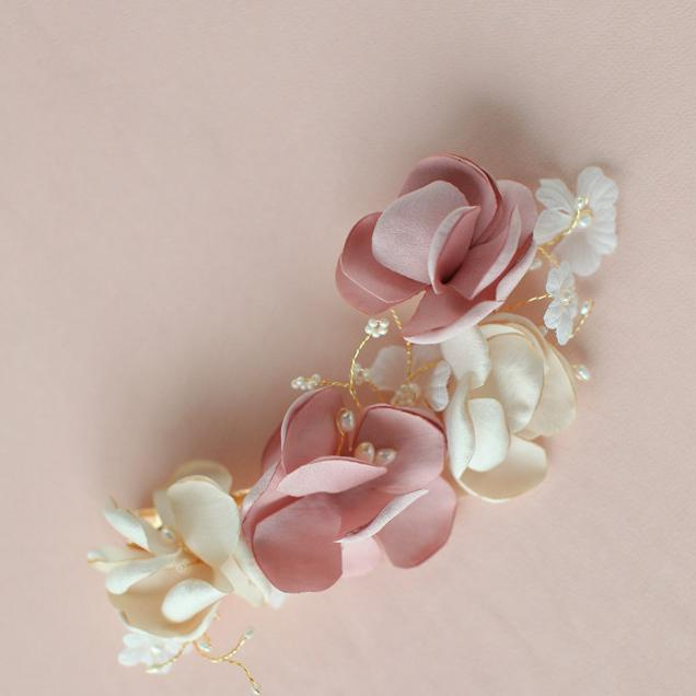 Romantic Silk Flower Hair Accessories For Brides No Fading Bridal