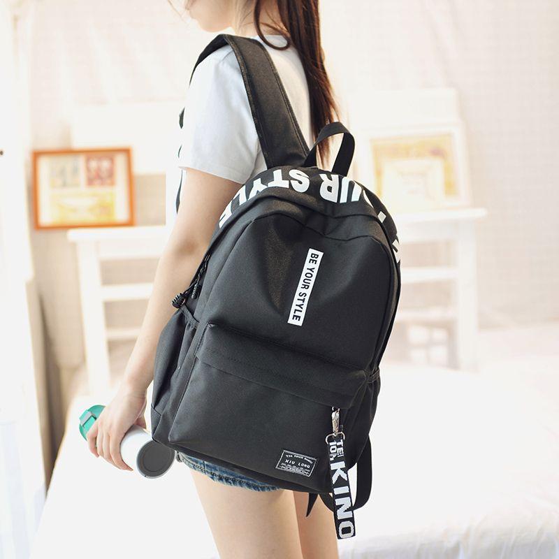 Harajuku Style Black Backpack Women Korea Ulzzang Solid Oxford Backpack  School Bags For Teenagers Casual Travel Bag Book Mochila a9343a4906bb6