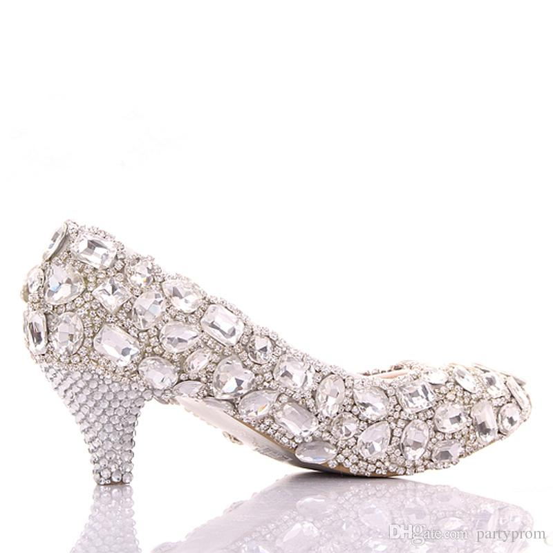 Spring Luxurious Rhinestone Wedding Shoes Big Crystal Bridesmaid Shoes Graduation Party Prom Shoes Lady Formal Middle Heel Shoes