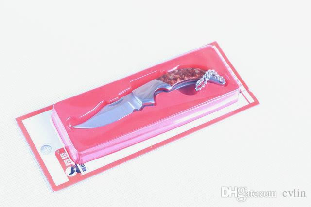 O transporte da gota China Marca Lobo Pequena faca da folha dobra 5Cr13Mov 56HRC Acabamento acetinado lâmina facas Chaveiro EDC facas de bolso pacote de plástico