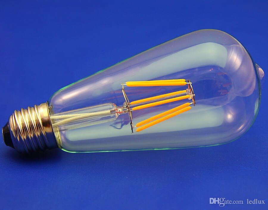 2015 الساخن بيع e27 7 واط خيوط led المصابيح ضوء دافئ الأبيض 2700 كيلو عالية لومينز 700lm st64 led اديسون خيوط لمبات ac110-240v repalce 90 واط