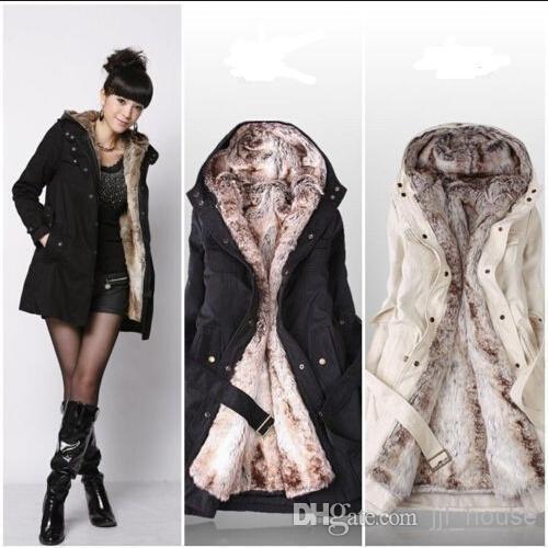0dee33cd2 2019 Hot 2014 Fashion Black Lady Women Hooded Thicken Warm Winter Coat  Parka Overcoat Long Jacket Outwear Outdoor Jackets Fur Coat Trench Coats B  From ...