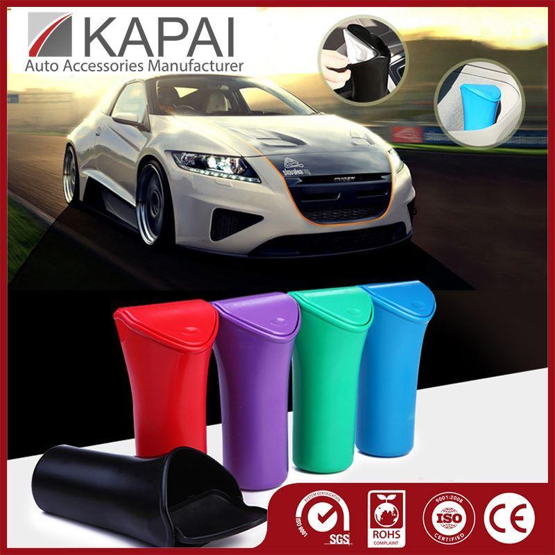car garbage bin mini cupshaped trash bin covers clamshell trash bucket debris barrel storage box car styling 5 colors