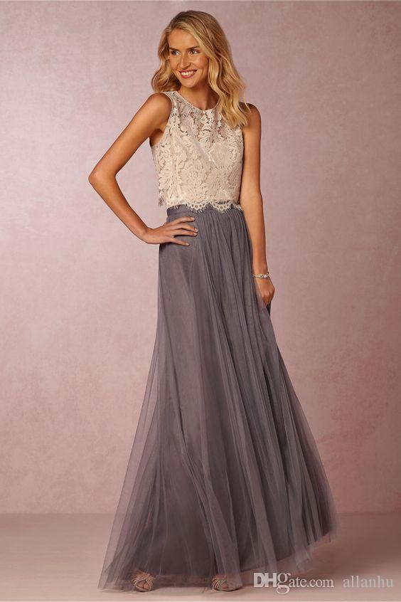 2017 Nuevas tendencias de dos piezas vestidos de dama de honor de encaje blusa Tulle falda de Borgoña gris Mint Sheer cuello de equipo completo de longitud elegante vestidos de baile