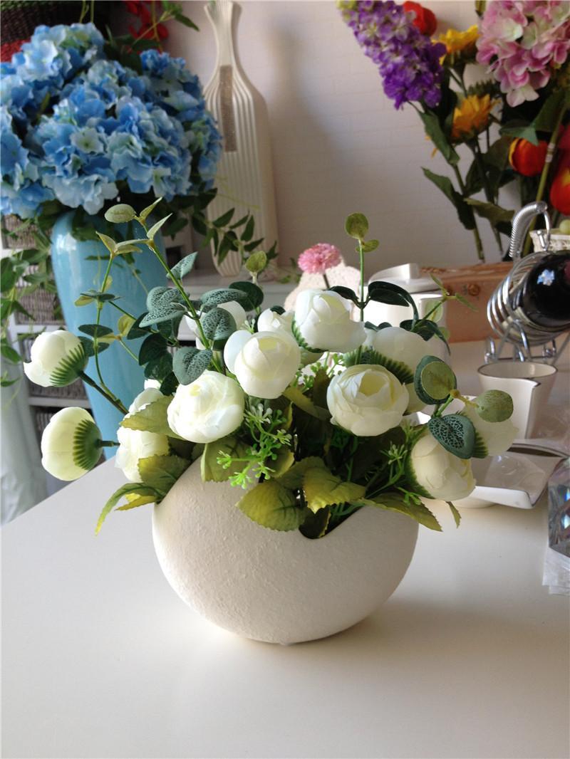 A set vase and flowers v01 modern ceramic vase for home decor color white vaseflowers rose red white blue green size vase15x9x11cm style modern meterial ceramic originjingdezhenjiangxi province china reviewsmspy