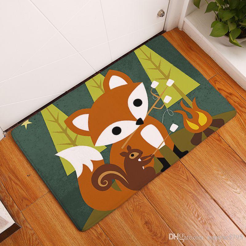 Großhandel Cartoon Kinderzimmer Teppich Gedruckt Fuchs Baby Teppiche Weiche  Fußmatte Kawaii Alfombra Eule Schlafzimmer Badezimmer Bodenmatte Von ...