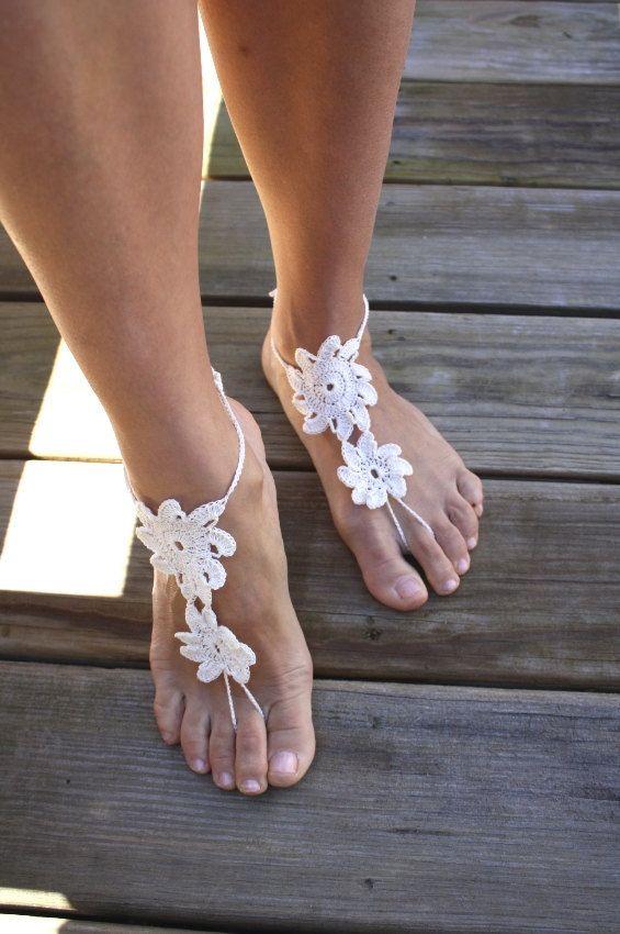 Crochet Wedding Lace shoes, windmill propeller Crochet Barefoot Sandals, Women Sexy Beach Nude shoes Custom Color
