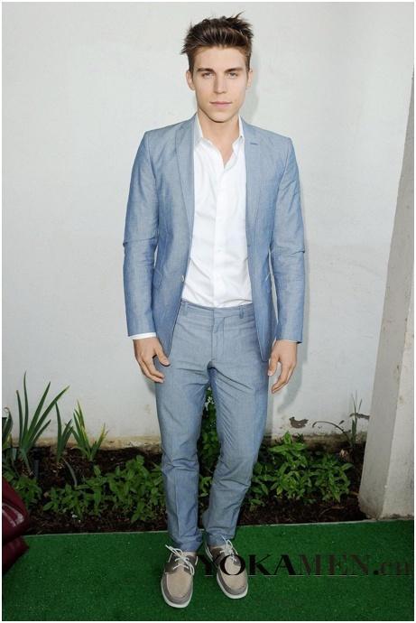 2015 Light Blue Slim Groom Tuxedos Fit Groomsman/Men Suits Best ...