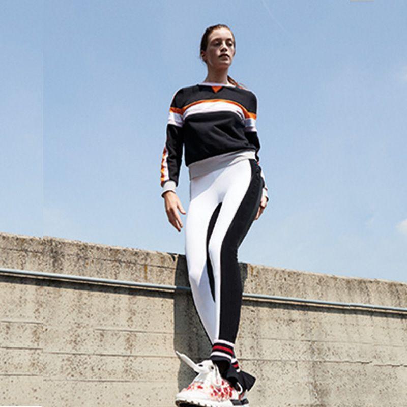 Wholesale Black White Patchwork Sport Leggings Womens High Waist Running Push Up Sports Yoga Pants Ruffle Hem Capris Tights