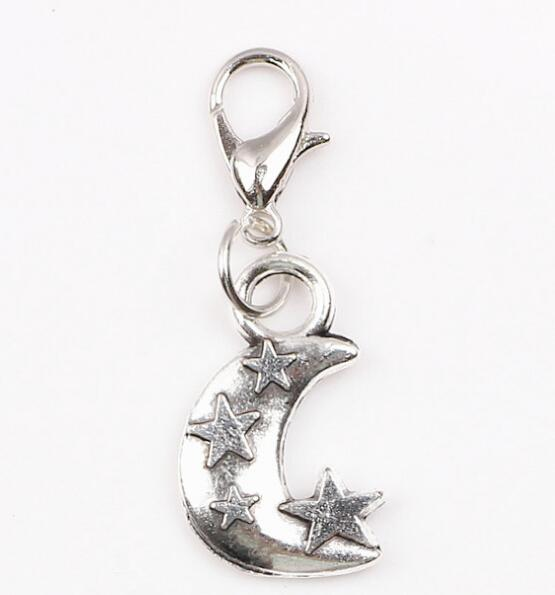 Floating Dangle Charms Vintage Silver Moon & Star DIY Pendant Jewelry For Glass Living Memory Locket