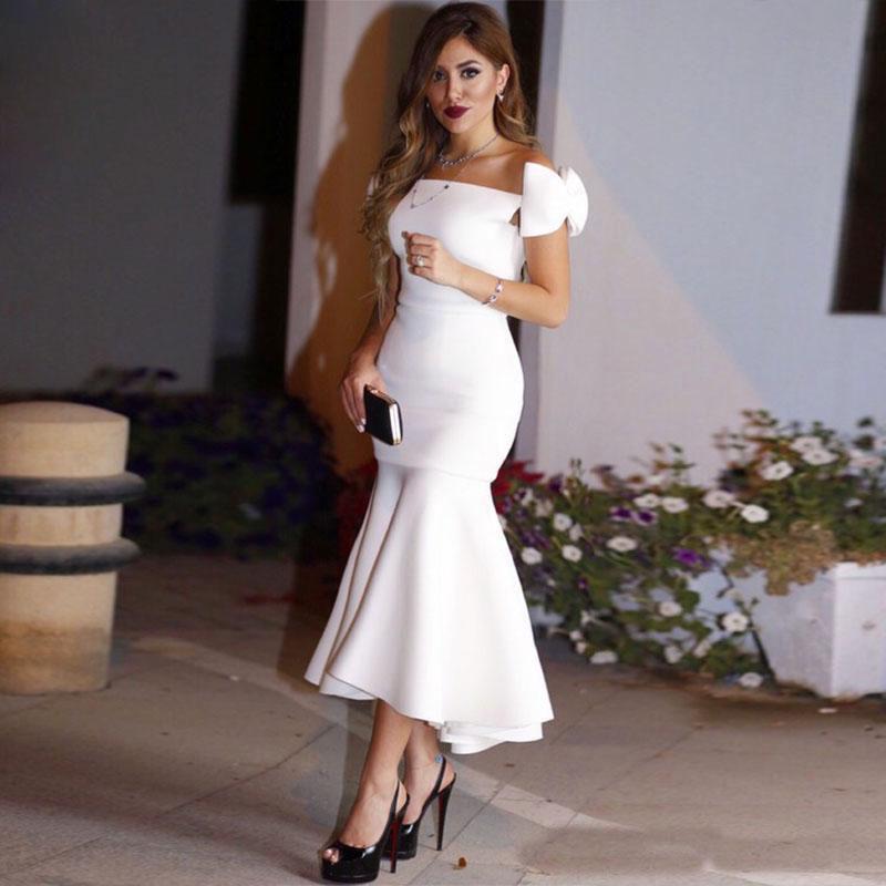 2018 Cheap Mermaid White Off Shoulder Cocktail Dresses Ankle Length Elegant Party Evening Formal Gowns Simple Vestido Festa