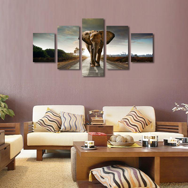 Großhandel 5 Stücke Kein Rahmen Elefanten Malerei Leinwand Wandkunst ...