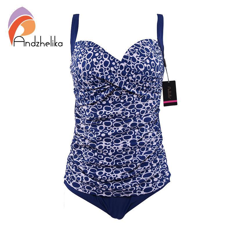 46492370b2553 Wholesale- Andzhelika One Piece Swimsuit 2017 New Women Plus Size ...