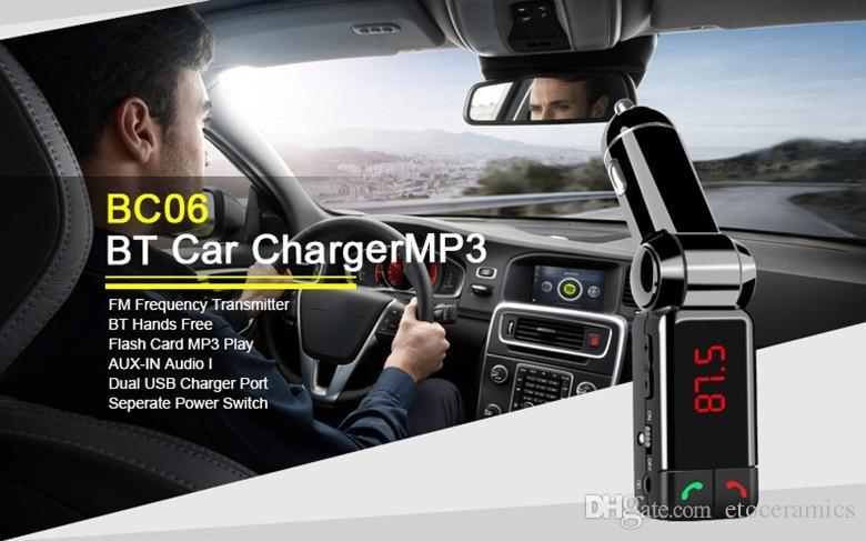 Mini car charger bluetooth handsfree with double USB charging port 5V/2A LCD U disk FM broadcast Mp3 AUX BC-06