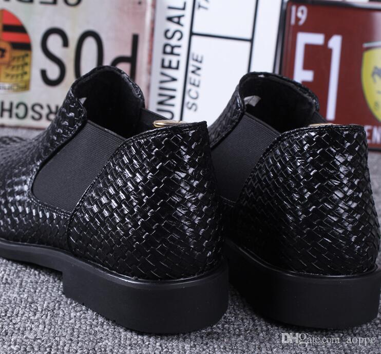 2019 sıcak Satış promosyonu high-end elbise ayakkabı erkekler için elbise ayakkabı dokuma iş Eğlence ayakkabı Büyük boy: 38-43 Ücretsiz kargo 391
