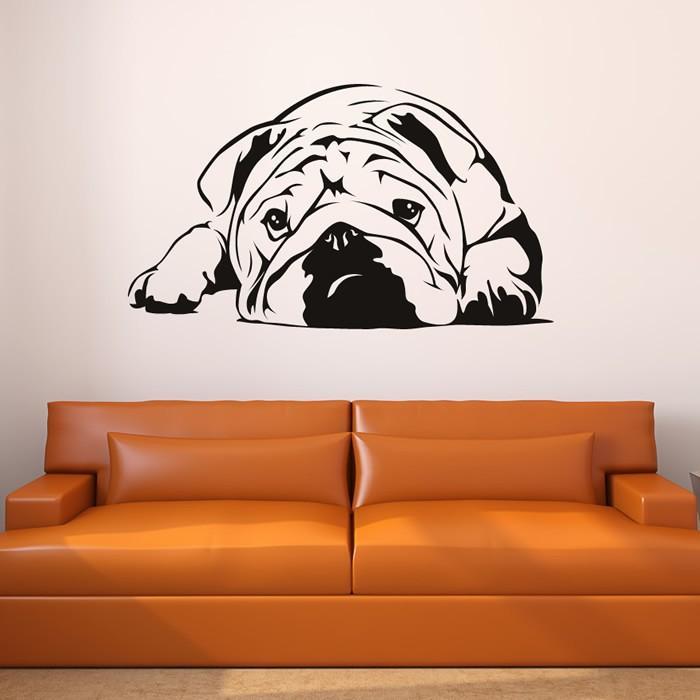 New 2015 English Bulldog Wall Art Sticker Vinyl Decal Wall Stickers Home Decor Size 87*51cm