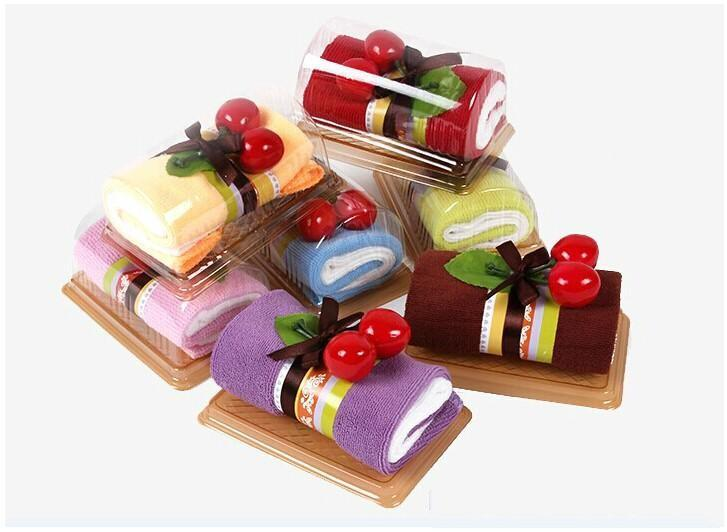 Creative Swiss Roll Cake Towel 2020cm Mini Wedding Birthday Party Supplies Baby Shower Favors Christmas Gifts 2015 New Arrival