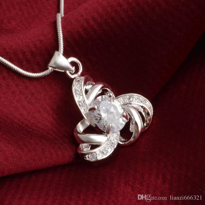 Livraison gratuite mode de haute qualité en argent 925 percé hexagramme bijoux en diamants blancs collier en argent 925 cadeaux de vacances de Saint Valentin 1673