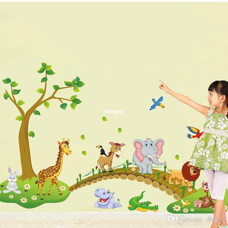 Bedroom Decoration Abc1041 New Bridge Cute Animal Nursery Wall ...