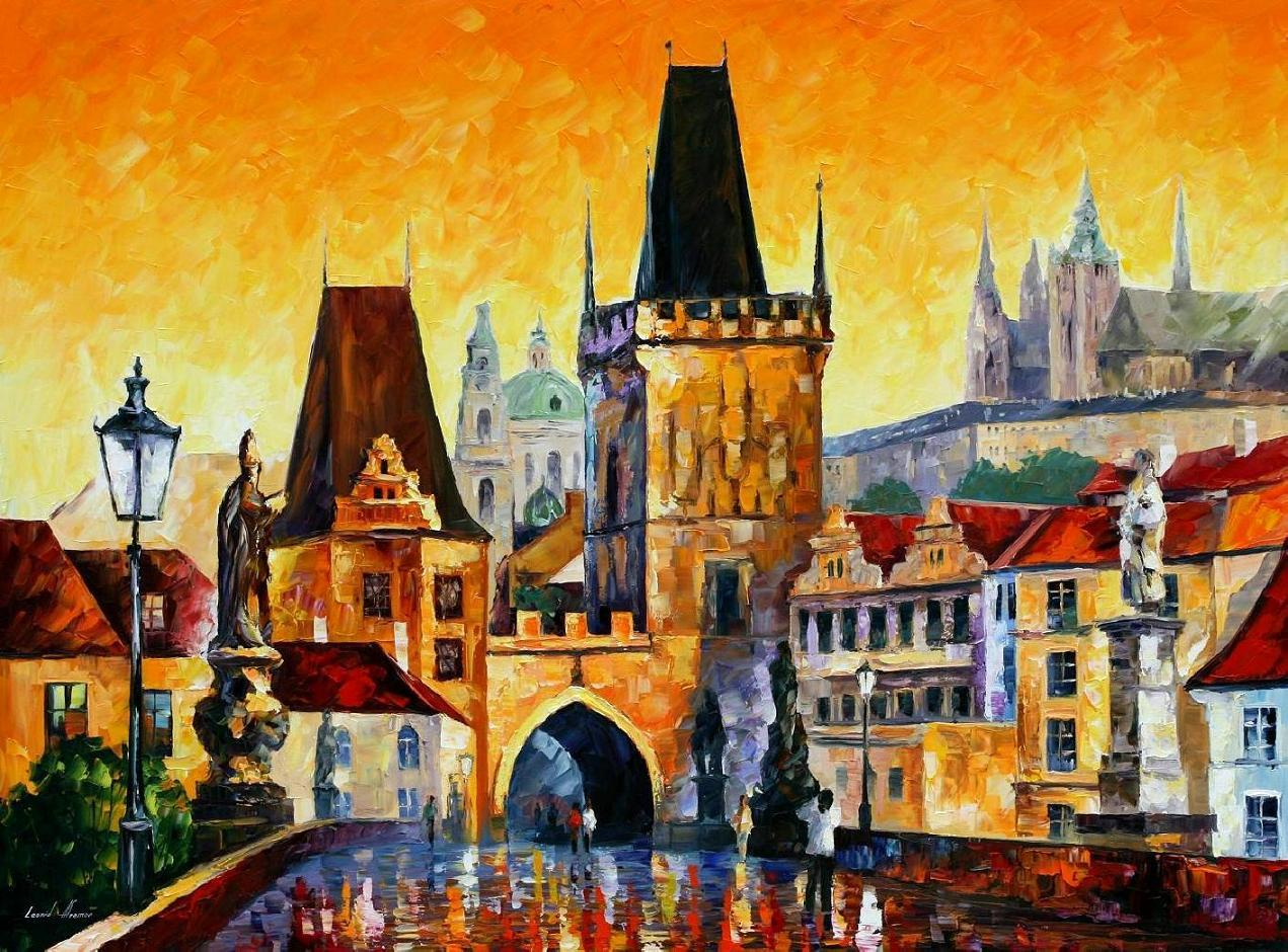 prague old city painting by leonid modern arthigh qualityhand painted from kixhome dhgatecom