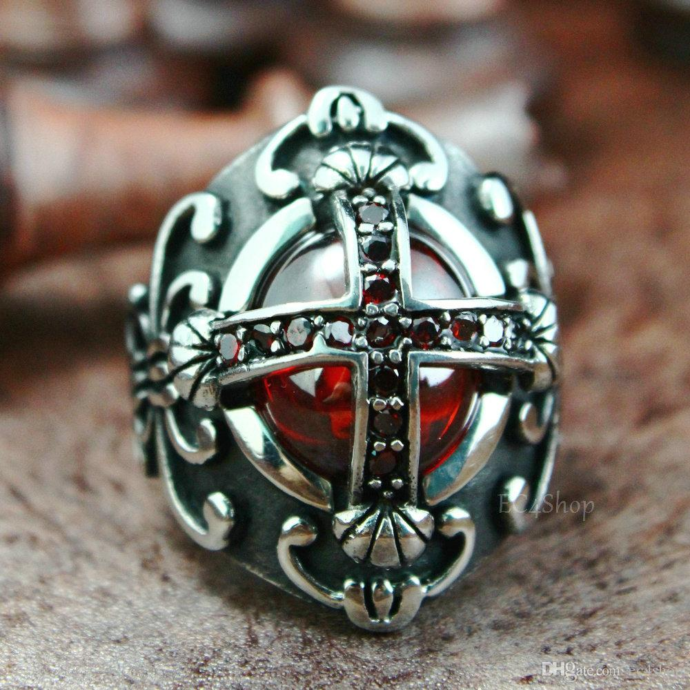 Mens Vintage Silver Tone Christian Classic Cross Huge Ruby CZ