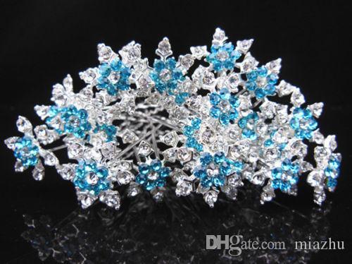 Lindo Floco De Neve Jóia Do Cabelo Da Menina de Casamento Nupcial Do Baile De Finalistas De Cristal Azul Cabelo Cristal Rhinestone Cosplay Acessórios Para o Cabelo Frete Grátis