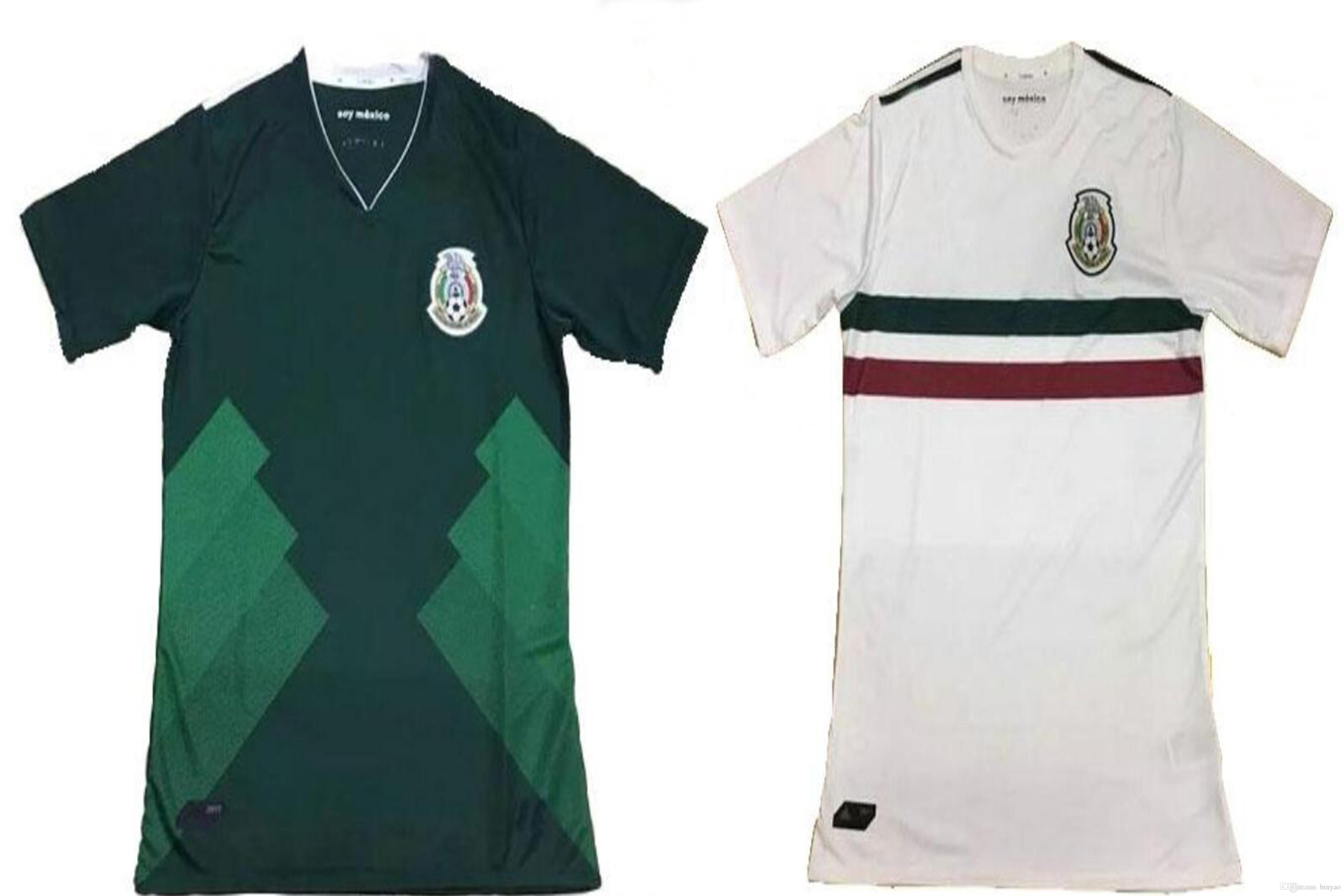 298226c0319 2017 2018 Mexico Soccer Jersey Home Away 17 18 Green white Best football  shirt CHICHARITO G.DOS SANTOS CARLOS V Camisetas de futbol