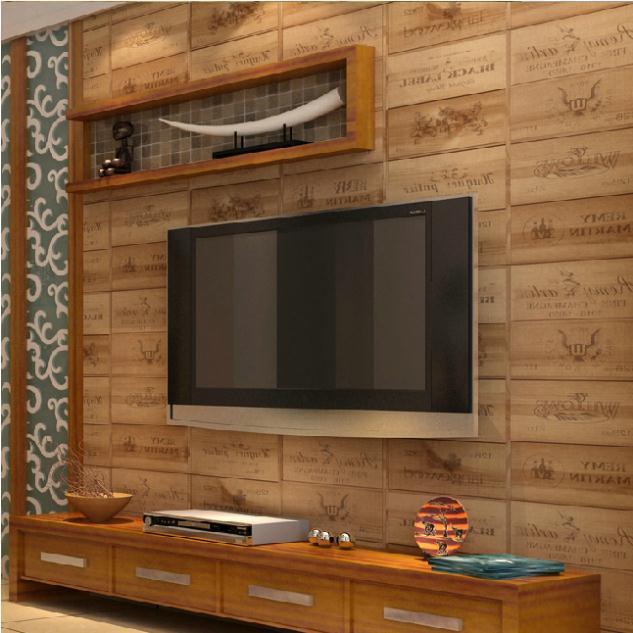 Wood box pvc wallpaper 3d vintage retro decorative wine box plaid zakka background wall - Ideas for covering wallpaper ...