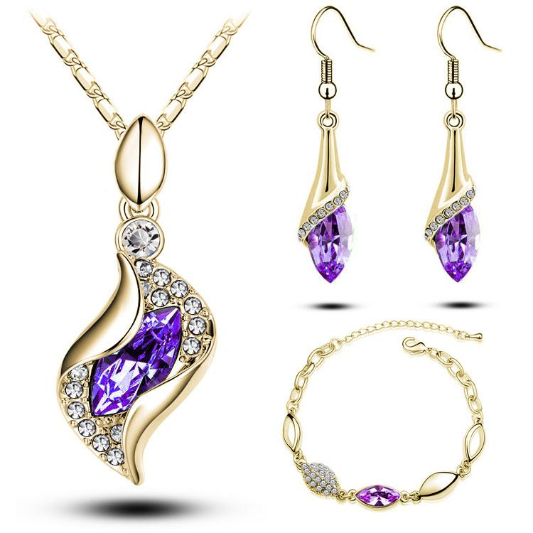 Cheap Jewelry Sets Crystal Bracelets Necklaces and Drop Earrings Sets Unique Design Wedding Jewelry Set for Bridal G206