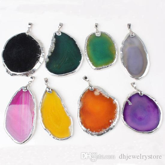 Wholesale Popular Silver Plated Gold Plated Irregular Shape Multi Colors Agate Slice Geode Pendant Fashion Jewelry