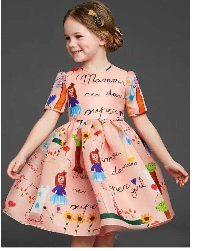 ec9a3c89e533 2019 Children S Dresses With Floral Kids Clothes Princess Dress ...