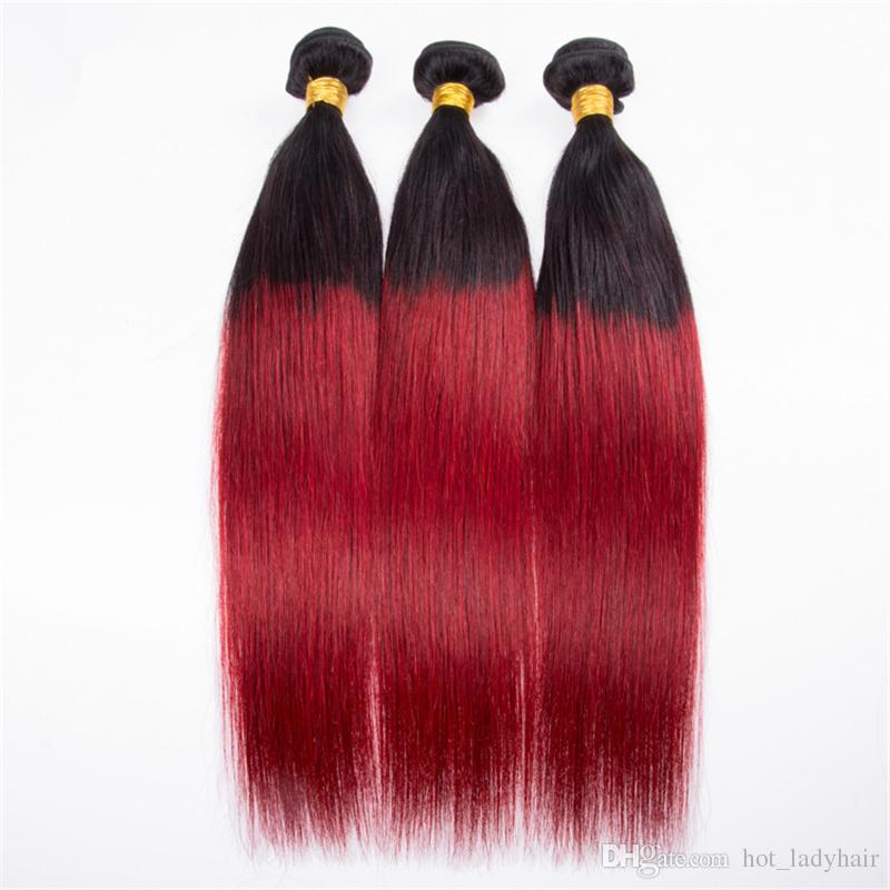 Two Tone 1B Red Ombre Straight Hair 3 Bundles Black to Red Ombre Brazilian Virgin Hair Weaves Extensions