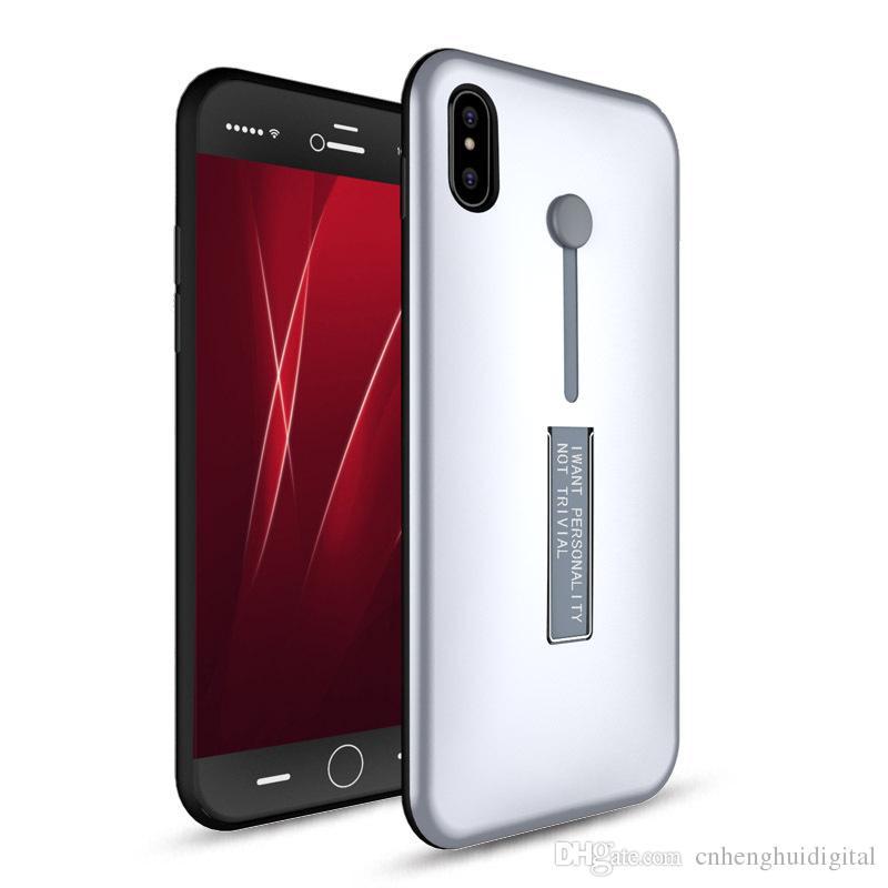 Para iphone x 8 7 7 plus híbrido suporte do anel de metal stand armadura phone case kickstand tampa do anel de dedo samsung galaxy note8 s8 s8plus