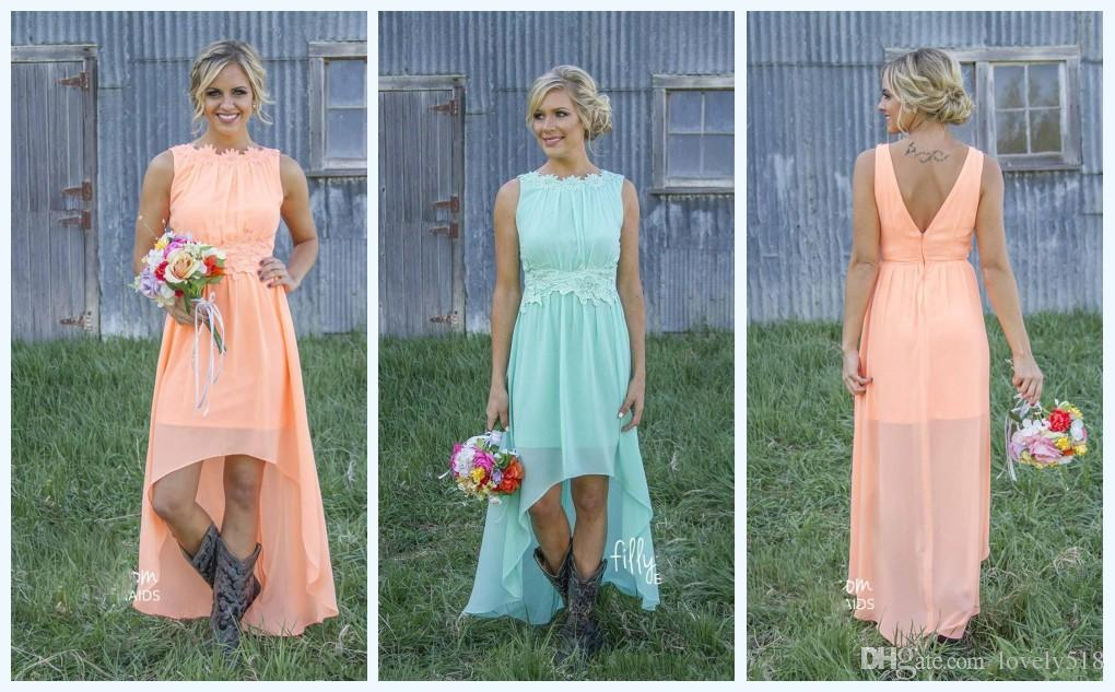 2016 Mint Orange Country High Low Bridesmaid Dresses Under