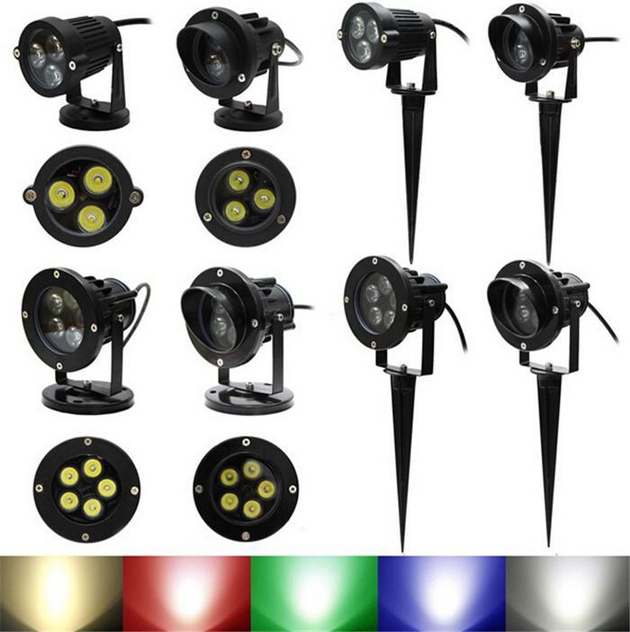 Proiettori a LED Lampada da giardino Faretto da esterno Impermeabile IP67 6W 10W Paesaggio Muro Cortile Percorso Stagno LED Lampada da prato Asta Base 110 V-240 V 12V DHL
