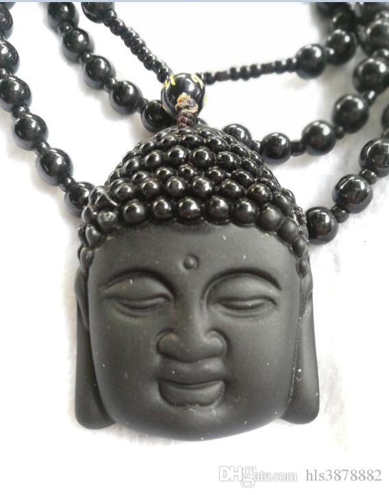 Natural Obsidian Necklace Fashion Black Ruyi Buddha Pendant For Women Men Vintage Fine Jade Jewelry Ornaments B3