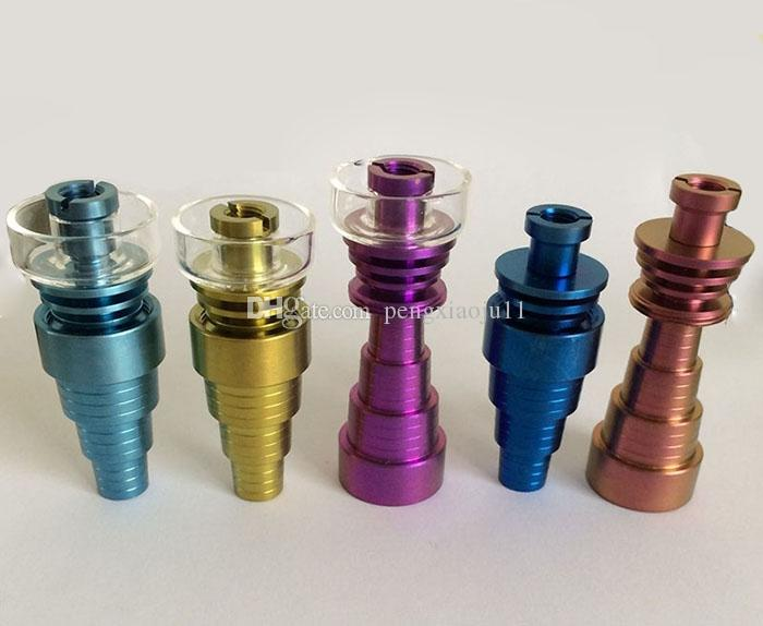 Highly quality Colorful Domeless Titanium Nail With Colored Carb Cap Titanium Nails 10mm 14mm 19mm Female Male Joint Quartz Banger Nail