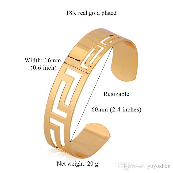 Vintage Hollow Scroll 18k Real amarillo chapado en oro brazaletes brazaletes para hombres / mujeres al por mayor YH5155