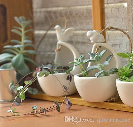 Asılı kuşlar ile seramik saksı asılı tavşan sincap hayvan seramik tencere doğum günü hediyeleri ev dekor bahçe dekor seramik tencere vazolar