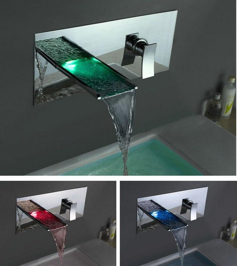 2018 Wall Mounted Waterfall Faucets,Mixers & Taps Water Power Led ...