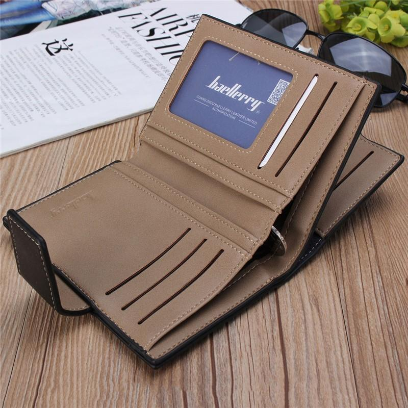 Fashion Men PU Leather Short Wallets Solid 3 Fold Male Purse ID Card Credit Cards Holder Coin Purses Man Wallets Pouch Button