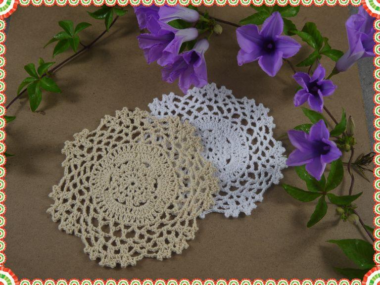 "Handmade Crochet Placemats cup mat, White Ecru Doily ,cup pad,coaster ,crochet applique 5.2""/13CM,"