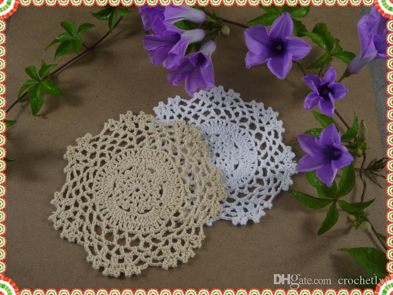 Tapis à main fait main en Crochet Placemats, napperon blanc écru, coussin à tasse, dessous de verre, applique au crochet 5.2