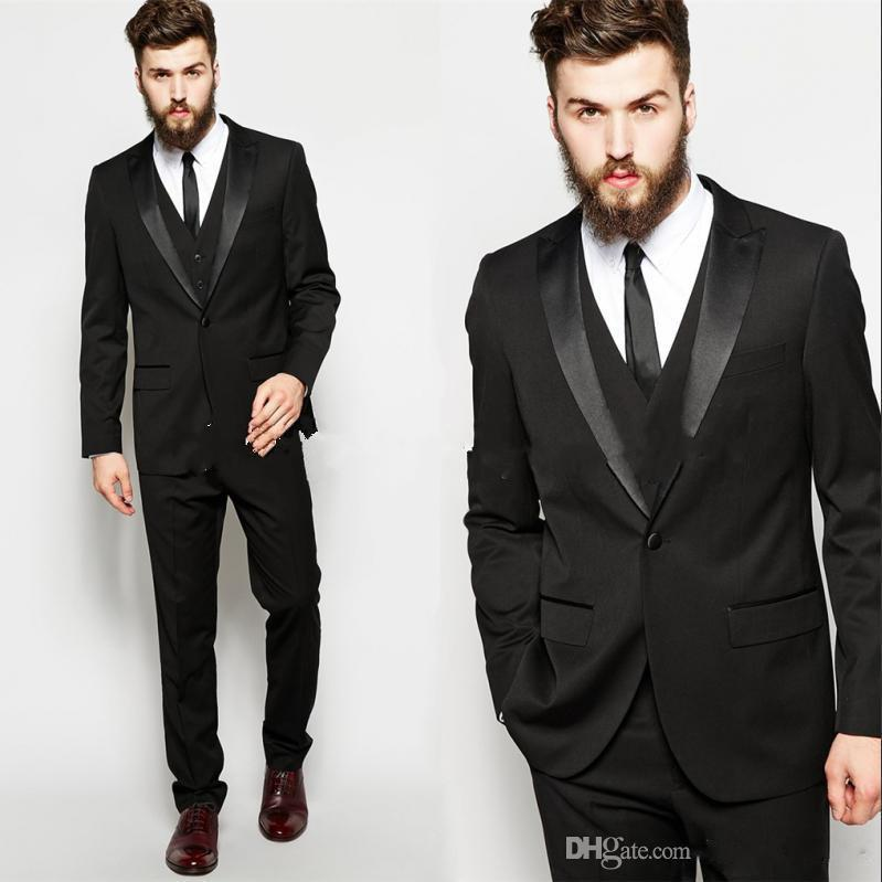 Three Pieces Custom Made Black Wedding Suits Blazer For Mens Tailor ...
