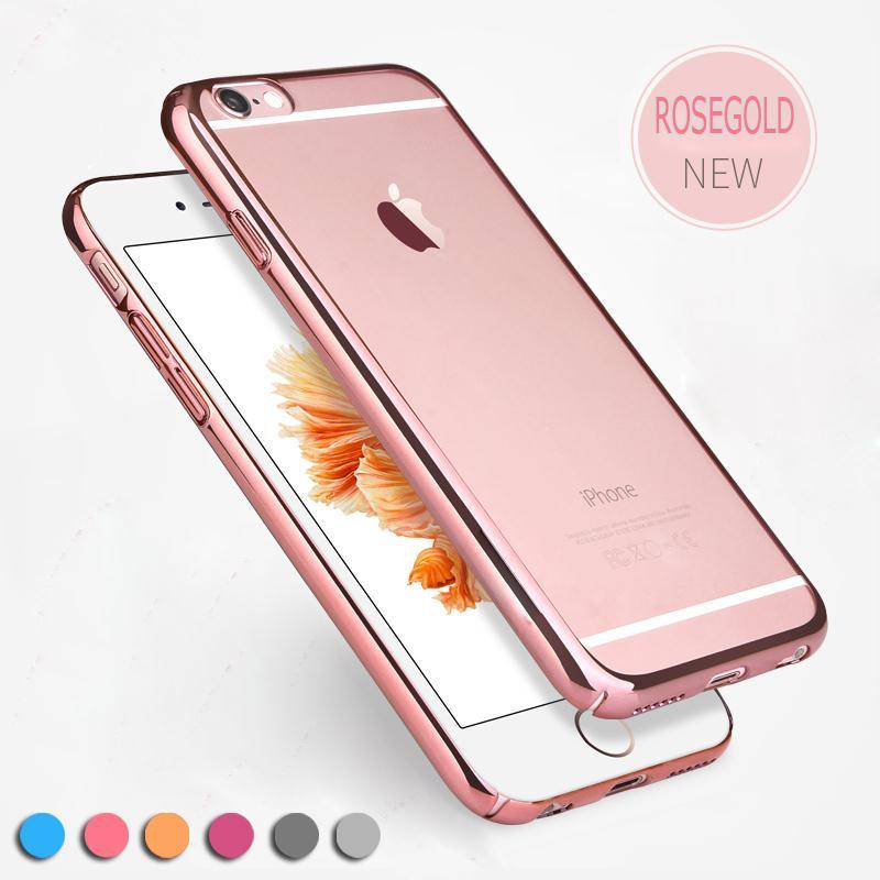 new product 461b1 bd554 For iphone 6S 5 5s Ultra Thin Rose Gold Plating Crystal Clear Case For  iPhone 6 6s plus 5.5 Inch Transparent TPU Electroplating Frame Cover