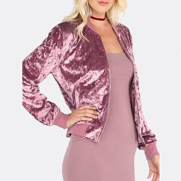 Hot Sale Autumn Pink Velour Coat Women Slim Fit Cardigan Zipper Hoodies Solid Cotton Causal Coat