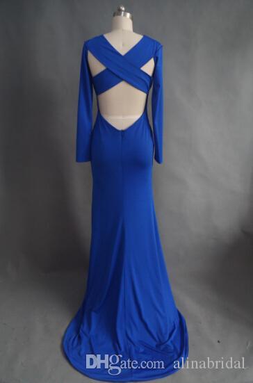 2015 Royal Blue Mermaid Abendkleider High Neck Long Sleeves Kreuz Backless Spandex Abendkleider Lange Frauen Maxi Prom Party Kleider